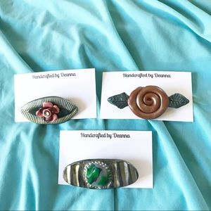 Handmade set of 3 primitive polymer clay brooches